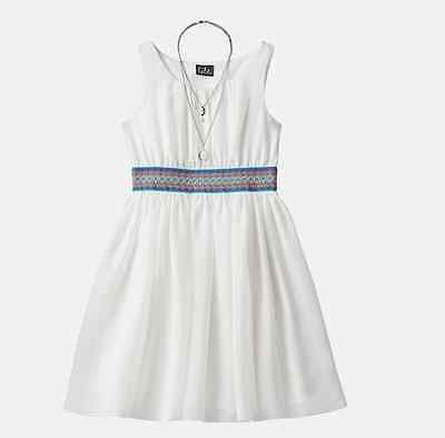 NWT WHITE IVORY SLEEVELESS DRESS & NECKLACE GIRLS PLUS SIZE 20 1/2 - Girls Dresses Size 20