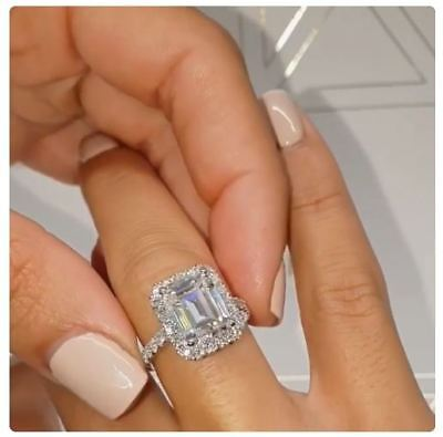 - 5.00Ct Emerald Cut Diamond Solitaire 14K White Gold Halo Promise Engagement Ring