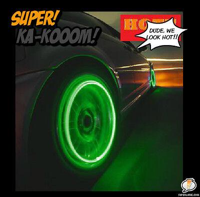 4 X NEON LED VALVE STEM CAR RIMS TIRE LIGHTS FOR ACURA RANGE LAND ROVER GMC - Led Lights For Shirts