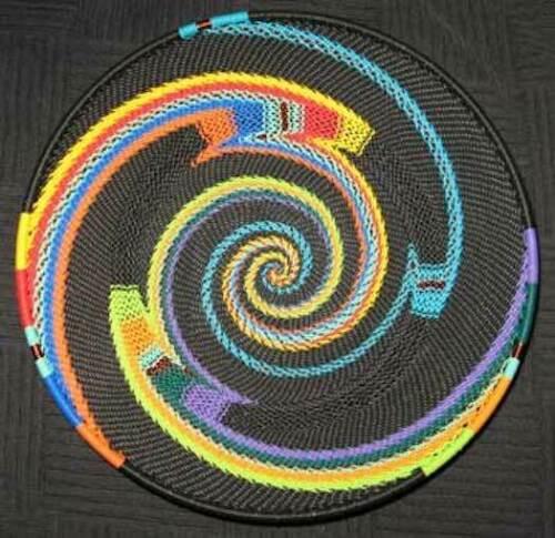 Black Knit Swirl Handmade African Zulu Telephone Wire Basket Plate MED
