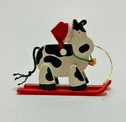 Vintage Holly Jolly Cow Ornament - Skiing Cow - Avon: The Gift Collection