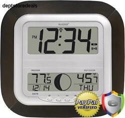 Jumbo Atomic Digital Wall Clock Home Office Indoor Outdoor Temperature Large