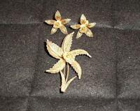 Gilt Silver Filigree Brooch and Earrings