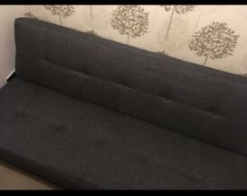 Grey fabric sofa bed never used