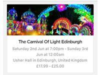 Carnival of Light 2nd June Edinburgh - 2 Tickets