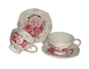 Fine Bone China Pink rose 2 cups and 2 saucers tea set