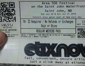 2 tickets for area 506'' New Brunswick Day Festival