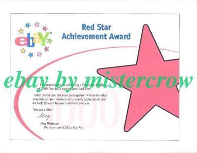 Red Star Achievement Award - vintage eBay award certificate for 1,000 FB Profile