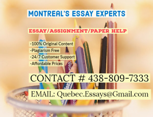 ESSAY EXPERTS - ANY TOPIC OR DEADLINE - Call/Text (438) 809 7333