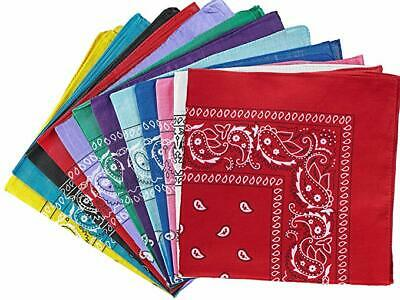 Print Bandanas (3 PACK 100% Cotton Paisley Print Bandana's Head Wrap Scarf Wristband Lot of)