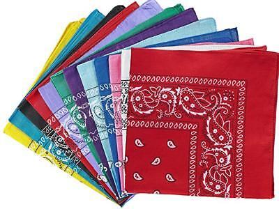 Bandana Large Paisley Cotton 12 One 1 Dozen Cowboy 22 x 22 inch -  Color Choices (Cowboy Bandanas)