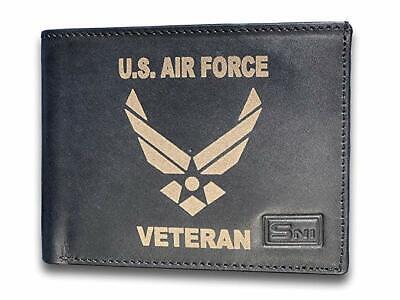 US Air Force Veteran Men's Genuine Leather Wallet with Custom Laser Engraving  Us Air Force Laser