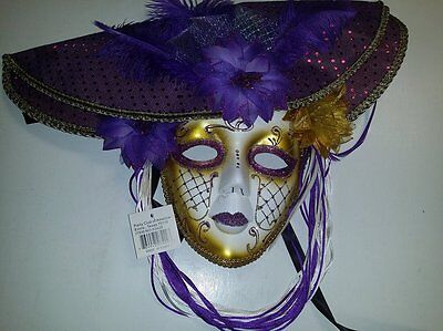 Masquerade Mask with Hat and Feathers (Purple/Gold), Costume, Halloween - Halloween Costumes With Purple