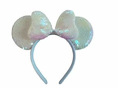 Minnie Mouse Ears Shiny white  Sparkly Headband princess Minnie. Color (Minnie Color)