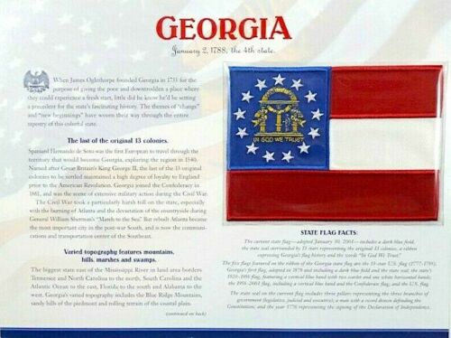 GEORGIA Willabee & Ward STATE FLAG PATCH INFO CARD United States Flag Collection