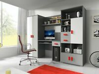 """NEW Furniture Set """"TOM"""" wardrobe computer desk cupboard shelves drawers ideal for kids"""