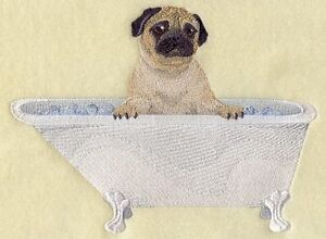 Pug in Bathtub Embroidered Block St. John's Newfoundland image 1