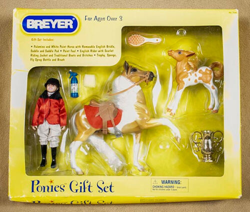 BREYER PONIES GIFT SET PALOMINO & WHITE PAINT HORSE & FOAL & RIDER 2005 NEW 7040