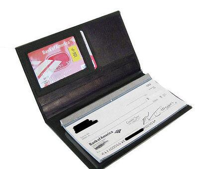 Black Leather Checkbook Cover Organizer - Black Genuine Leather Checkbook Cover Organizer Credit Card ID Wallet Men Lady