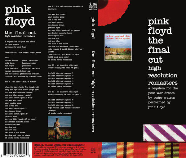 PINK FLOYD, THE FINAL CUT, HIGH RESOLUTION REMASTERS, 4 x CD BOX SET (SEALED)