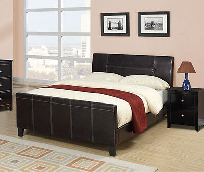 NEW CILLIAN CONTEMPORARY ESPRESSO BYCAST LEATHER QUEEN SLEIGH BED - Espresso Sleigh Bed