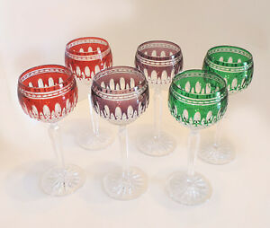 6 waterford clarendon crystal colored wine glasses goblets red green amp purple ebay - Waterford colored wine glasses ...