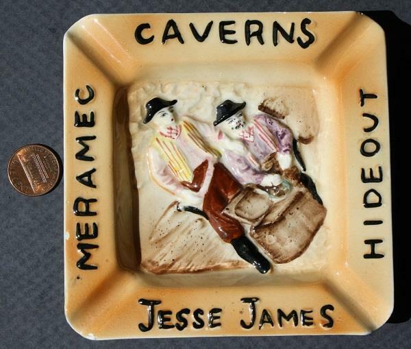 1960s Meramec Caverns Stanton Missouri Jesse James Hideout ashtray-Route 66 too!