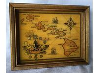 Rose wood Surf Board Clock Island map Hawaiian Hawaii Beautiful Crafted Wooden