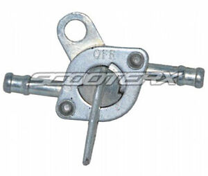 Petcock-Fuel-Valve-Silver-1-4-Inlet-Outlet-Mini-Chopper-Pocket-Bike-Dirt-Bike