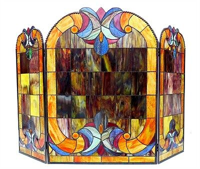 CH1F780PV40-GFS Victorian Tiffany Style Stained Glass 3pc 40X28 Fireplace Screen