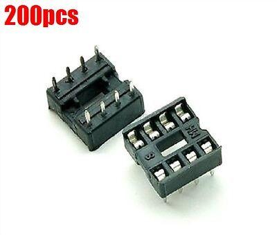 200pcs 8-pin 8pins Dil Dip Socket Pcb Mount Connector Us Stock A