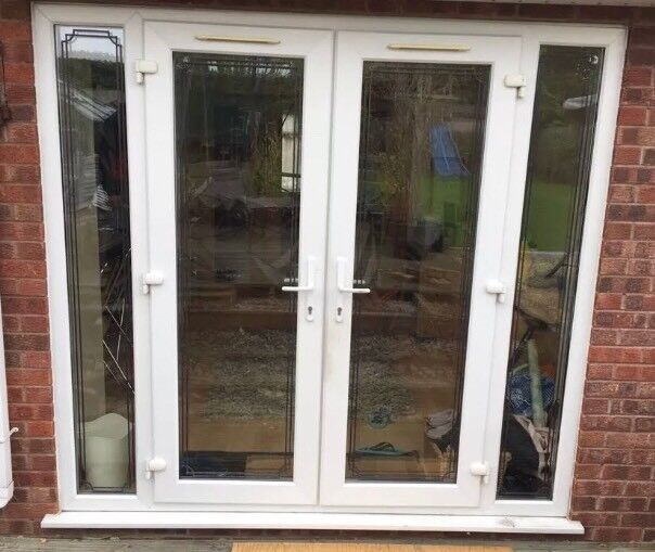 French patio doors with side panels & keys