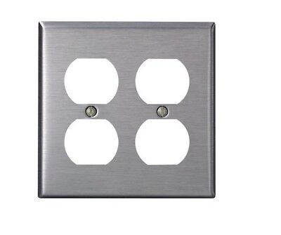 2- Leviton Satin Stainless Steel 2-Gang Receptacle wall Plates 84016