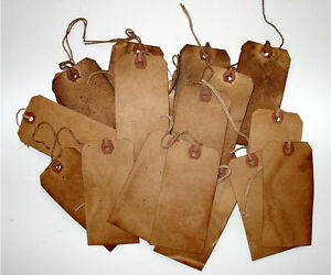 50 Grungy Vintage Primitive Hang Tags 2 3/8x  1 3/8