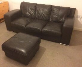 Brown leather 3 seater sofa with foot stool
