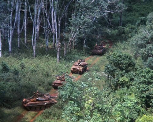 "U.S.Tanks on Patrol in North Vietcong 8""x 10"" Vietnam War Photo 282"