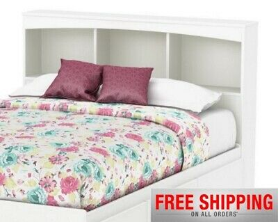 Modern White Wood Headboard With Bookcase Storage Shelf For Full Size Bed Frame ()