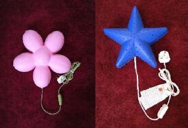 Kids plug in wall night lights Pink Flower & Blue star
