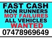 Cars wanted, scrap,mot failures, break downs, Parked up, runners and non runners what you got