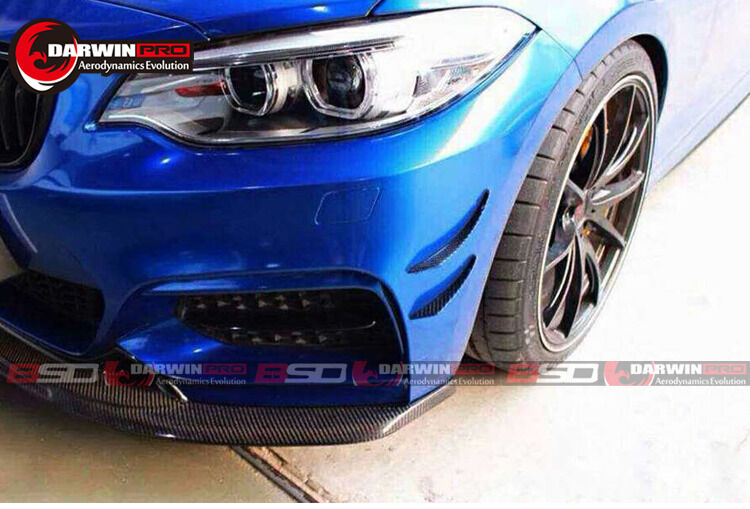 2014-2016 Bmw 2 Series F22 235i Exo Style Carbon Fiber Canards Front Bumper 4pc