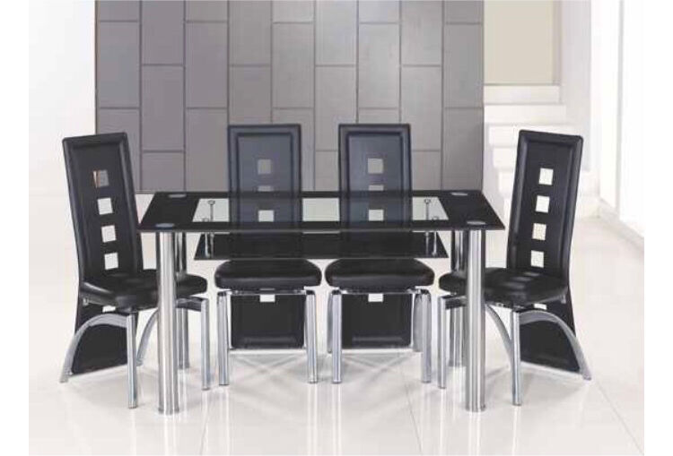 Black Bordered Clear Glass Dining Table And 6 Chairs In Ince