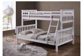 White wooden triple sleeper