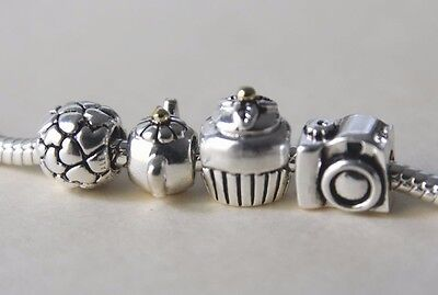 Pandora Teapot, Cupcake, Lotsa Love and Camera Charm Bead Authentic S925 ALE USA