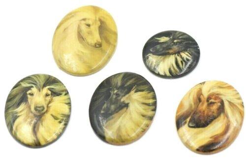 Marcia Van Woert 5 Original AFGHAN HOUND DOG Jewelry Inserts Raintree Kennel