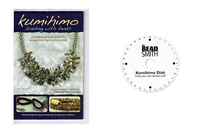 """KUMIHIMO Braiding with BEADS Instruction Booklet  + Mini Disc 4-1/2"""" ~Craft Book"""