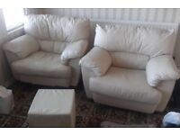 Set of two Cream leather armchairs with footstall pouffe - Free Local Delivery