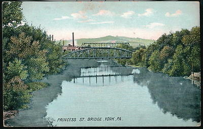 York Pa Princess Street Bridge Antique Pennsylvania Postcard Vtg Codorus Creek