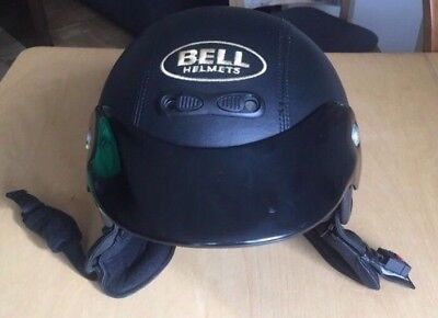 Schwarz Bell (Motorradhelm Bell Jethelm Schwarz In Lederoptik)