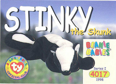 TY Beanie Babies BBOC Card - Series 1 Common - STINKY the Skunk - NM/Mint