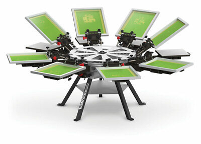 Vastex V-1000 Professional Screen Printing Manual Press 8 Station And 8 Color
